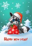 invitation new year Tvättbjörn med en jultomtenhatt och en påse för ` s för nytt år av gåvor Stock Illustrationer