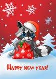 invitation new year Tvättbjörn med en jultomtenhatt och en påse för ` s för nytt år av gåvor vektor illustrationer