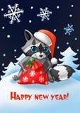 invitation new year Tvättbjörn med en jultomtenhatt och en påse för ` s för nytt år av gåvor royaltyfri illustrationer