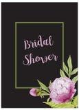 Invitation nuptiale de carte de douche avec des fleurs d'aquarelle Photographie stock
