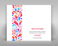 Invitation with ornament. Invitation design with floral decoration. Ornament made from swirl elements Stock Image