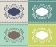 Invitation ou carte avec l'ensemble floral de cadre de quatre C Image stock