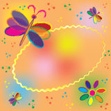 Invitation oval card with rainbow butterflies Royalty Free Stock Image