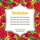 Invitation over red flowers Stock Photography