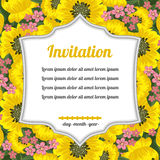 Invitation over yellow flowers Stock Photo