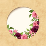 Invitation parchment card with red and pink roses. Vector eps-10. Stock Image
