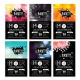 Invitation party flyer. Typography. Design set. Royalty Free Stock Images