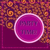Party Time Print With Round Frame. Invitation Party Time Print With Round Frame Royalty Free Stock Images
