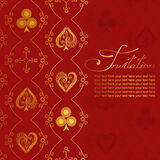 Invitation with pattern of suits of playing card Royalty Free Stock Image