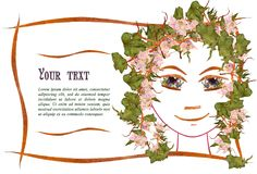 Invitation with a picture of the girl`s face contour, applique. Made of flowers and leaves with  place for text Stock Image