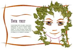 Invitation with a picture of the girl`s face contour, applique. Made of flowers and leaves with  place for text Stock Photography