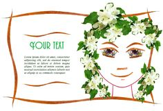 Invitation with a picture of the girl`s face contour, applique. Made of flowers and leaves with  place for text Stock Photo