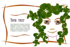 Invitation with a picture of the girl`s face contour, applique. Made of flowers and leaves with  place for text Stock Photos