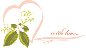 Invitation pink heart with flower. Illustration Royalty Free Stock Image