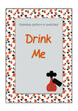 Invitation postcard Drink Me Bottle from Wonderland. Printable Vector Illustration for Graphic Projects, Real Life Parties and the Internet Stock Photos