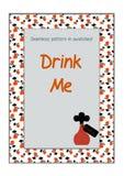 Invitation postcard Drink Me Bottle from Wonderland Stock Photos