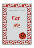 Invitation postcard Eat Me Cookie from Wonderland. Royalty Free Stock Image