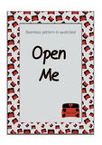 Invitation postcard Open Me Box from Wonderland. Royalty Free Stock Images