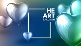 Invitation Postcard For Surprise Party Vector. Postcard Decorated By Realistic Glossy Blue And Green Flying Helium Balloon In Shape Of Heart For Rejoice On stock illustration