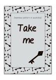 Invitation postcard Take Me Key from Wonderland. Royalty Free Stock Photo