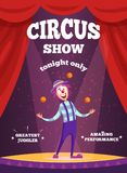 Invitation poster for circus show or magicians performance. Illustration of clown juggle on the scene Stock Image