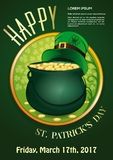 Invitation poster for St. Patricks Day. 17 March. Happy St. Patricks Day. 17 March. Invitation poster with magic pot full of gold and leprechaun hat on a green Royalty Free Stock Photos