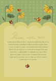 Invitation poster with sunflowers and birds. And copy space for text Royalty Free Stock Photography