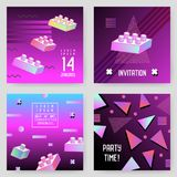 Invitation Poster Templates Set with Geometric Memphis Shapes. Party Background Vintage Retro 80s 90s Style Royalty Free Stock Image