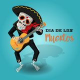 Invitation poster to the Day of the dead party. Dea de los muertos card with skeleton playing the guitar. stock illustration
