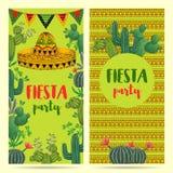 Invitation pour la partie de fiesta avec le sombrero, les cactus et l'ornement ethnique illustration de vecteur