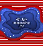 Invitation pour le quatrième du Jour de la Déclaration d'Indépendance de juillet des Etats-Unis Coupez le style de papier Photo stock
