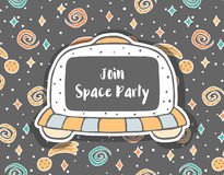 Invitation puérile tirée par la main avec l'UFO dans l'espace Photo stock