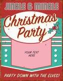 Invitation rétro Tin Sign Art Flyer de fête de vacances de Noël de cru illustration de vecteur