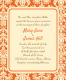 Invitation with a rich background in Renaissance style. Template. Framework Wedding invitations or announcements with vintage background artwork. Ornate damask Royalty Free Stock Photos