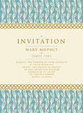 Invitation with a rich background in Renaissance style. Template. Framework Wedding invitations or announcements with vintage background artwork. Ornate damask Royalty Free Stock Photo