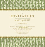 Invitation with a rich background in Renaissance style. Template. Framework Wedding invitations or announcements with vintage background artwork. Ornate damask Stock Photos