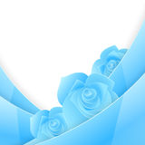 Blue abstract paper invitation with rose Royalty Free Stock Photography