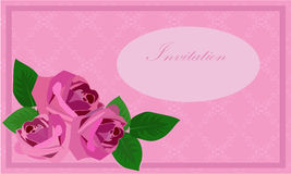 Invitation with roses Royalty Free Stock Photo