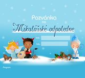 Invitation on Saint Nicholas afternoon. Cute illustration of Saint Nicholas, angel and devil on blue snowy background as invitation to Nicholas afternoon - czech Stock Photos