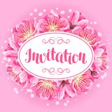 Invitation with sakura or cherry blossom. Floral japanese ornament of blooming flowers Royalty Free Stock Images