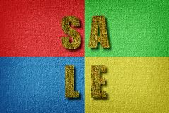 Sale announcement. Multicolored, textured poster sticker informing about the sale or discounts Stock Images