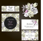 Invitation, save the date cards. Flowers. Invitation set.  Spring flowers cards Royalty Free Stock Images