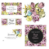 Invitation, save the date cards. Flowers. Invitation set.  Spring flowers cards Stock Image
