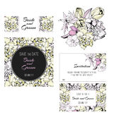 Invitation, save the date cards. Flowers. Invitation set.  Spring flowers cards Royalty Free Stock Photography