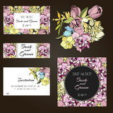 Invitation, save the date cards. Flowers. Wedding invitation, thank you card, save the date cards. Wedding set. RSVP card Royalty Free Stock Photos
