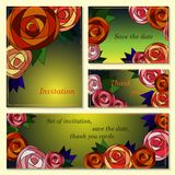 Invitation, save the date cards with mosaic roses. Stock Images