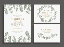 Invitation, save the date, reception card. Royalty Free Stock Photos