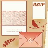 Invitation set. Paper with embossed center envelope, rsvp return card royalty free illustration
