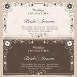 Invitation. Set of wedding invitation cards with orchid flower, vector illustration Royalty Free Stock Image