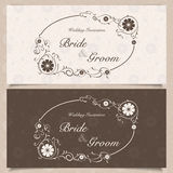 Invitation. Set of wedding invitation cards with orchid flower, vector illustration Stock Images